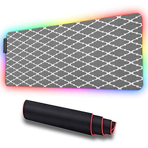 Large RGB Gaming Mouse Pad, Quatrefoil Pattern Barbed Design, High-Performance Mouse Pad Optimized for Gaming Sensors 31.5 X 11.8 Inch