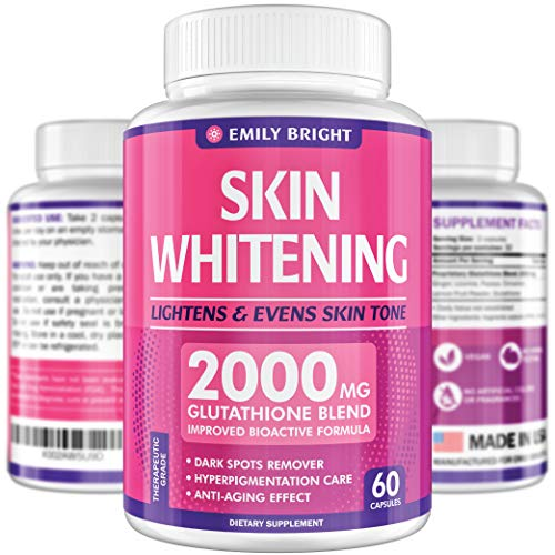 Glutathione Whitening Pills - 2000mg Glutathione - Better than Skin Lightening Cream - Dark Spots & Acne Scar Remover, Hyperpigmentation Treatment - Anti-aging Effect and Powerful Antioxidant - 60caps