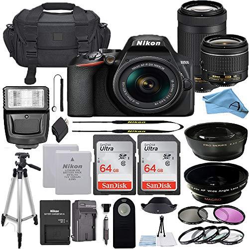 Nikon D3500 DSLR Camera with 24.2MP Sensor, NIKKOR AF-P 18-55mm VR & 70-300mm Dual Zoom Lens Kit, 2 Pack Sandisk 64GB Memory Card + A-Cell Accessory Bundle (64GB)