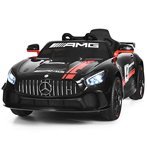 Costzon Ride On Car, 12V Licensed Mercedes Benz AMG GT Electric Vehicle w/ 2.4G Remote Control, Opening Doors, Head/Rear Lights, Swing Function, MP3 USB TF Input, Horn, High/ Low Speed for Kids, Black