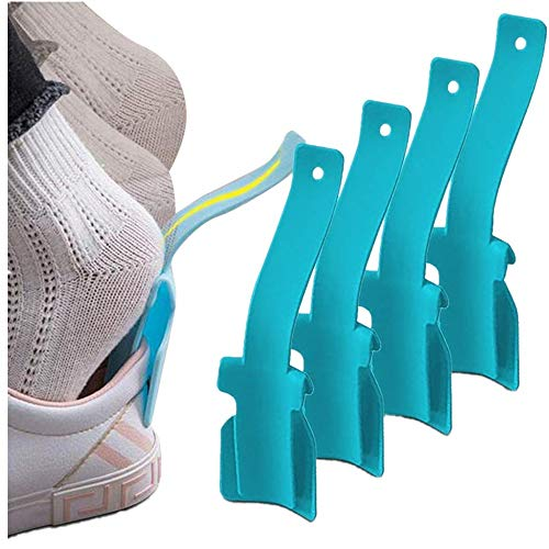 4 Pieces Lazy Shoe Helper, 2020 Portable Sock Slider - Handled Shoe Horn - Shoe Lifting Helper Easy on Easy Off, Plastic Shoehorn for Men, Women and Kids - Fits for All Shoes