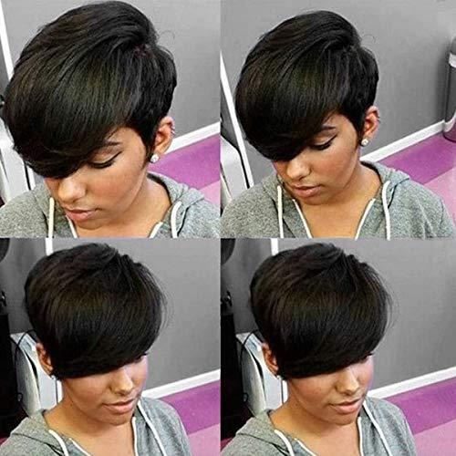 HOTKIS Short Human Hair Wigs Short Pixie Cut Wigs Side Bangs Short Wigs for Black Women Human Hair Short Wigs (Side Bangs Cut)