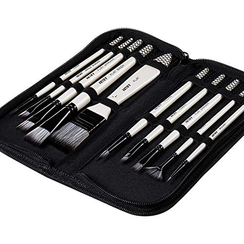 Artify 2020 New 10 Pcs Paint Brush Set Includes a Carrying Case Perfect for Acrylic, Oil, Watercolor and Gouache Painting