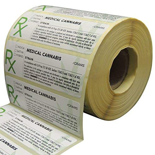 Generic Medical Identification Labels, State Compliant Leaf Stickers, 500 Labels Per Roll with Large Rx Symbol