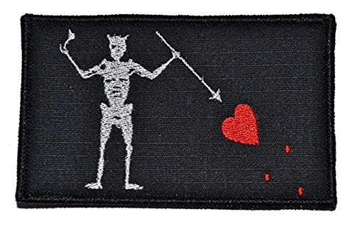 Antrix Black Beard Pirate Edward Military Morale Patch Hook & Loop Tactical Pirate Flag Morale Patch - 3.15'x2'