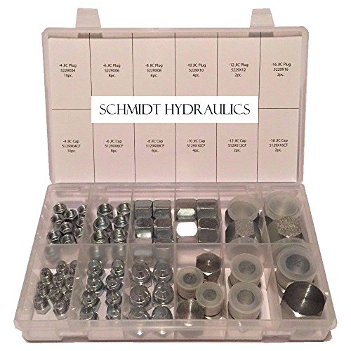 "SCHMIDT HYDRAULIC 37 Degree Flare 64 Pcs Lot JIC Hydraulic Adapter Compression Fitting Plug & Cap ""AN"" Kit Set for High Pressure Fuel Delivery and Fluid Power Applications"