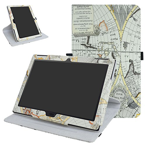 Lenovo Moto tab X704A / Tab 4 10 Plus Rotating Case,Mama Mouth 360 Degree Rotary Stand with Cute Pattern Cover for 10.1' Lenovo Moto tab X704A / Tab 4 10 Plus Tablet,Map White