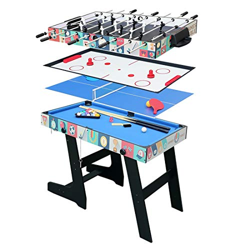 Fran_store 4 ft Multi 4 in 1 Combo Game Table, Folding Multi Game Combination Table Set with Soccer Foosball Table, Pool Table, Hockey Table, Table Tennis Table