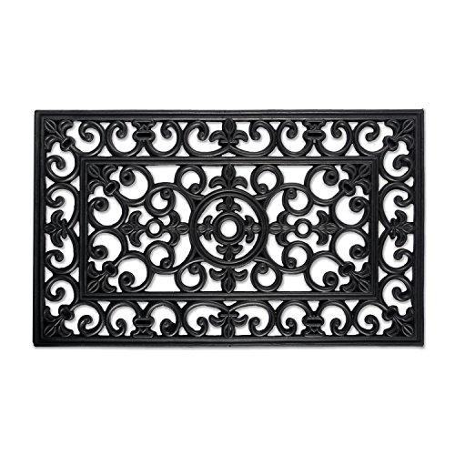 DII Indoor Outdoor Rubber Easy Clean Entry Way Welcome Doormat, Floor Mat, Rug For Patio, Front Door, All Weather Exterior Doors, 18 x 30' - Scroll