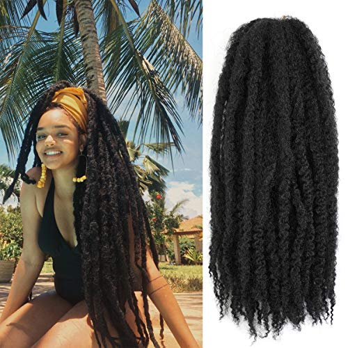 Ameli 6 Packs Marley Braiding Hair for Twists Synthetic Fiber Hair Afro Kinky Hair Marley Braid Hair Extensions (24inch, 1B)