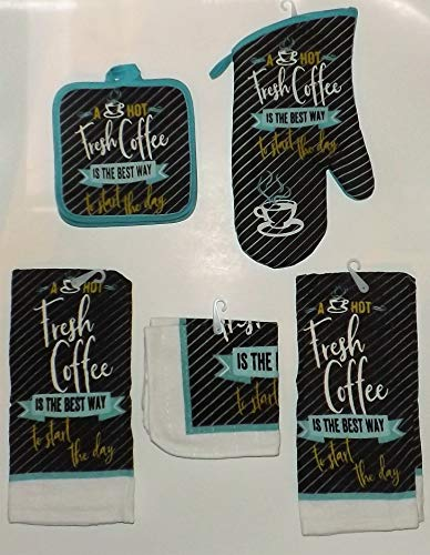Fresh Coffee 7 pc Kitchen Linen Set - Includes Kitchen Towels, Oven mitt, More