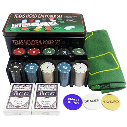 GKanMore Texas Holdem Poker Set, 200Pcs Casino Poker Chips, 2 Decks Poker Cards, 36'x24' Blackjack Table Cloth