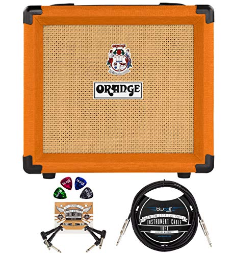 Orange Amps Crush 12-12-Watt Guitar Combo Amplifier with 3 Band EQ Bundle with Blucoil 10' Straight Instrument Cable (1/4'), 2-Pack of Pedal Patch Cables, and 4-Pack of Celluloid Guitar Picks