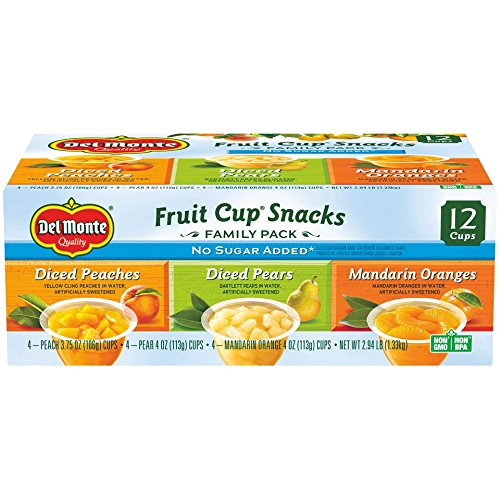 Del Monte No Sugar Added Fruit Cup Variety Pack (Peaches, Pears, Mandarin Oranges)  4-Ounce (Pack of 12)