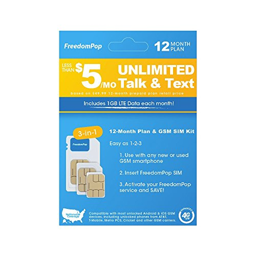 FreedomPop Less than $5/month, 12-Month Prepaid Plan - 3-in-1 LTE SIM Kit - Unlimited Talk, Text, & 1GB Data
