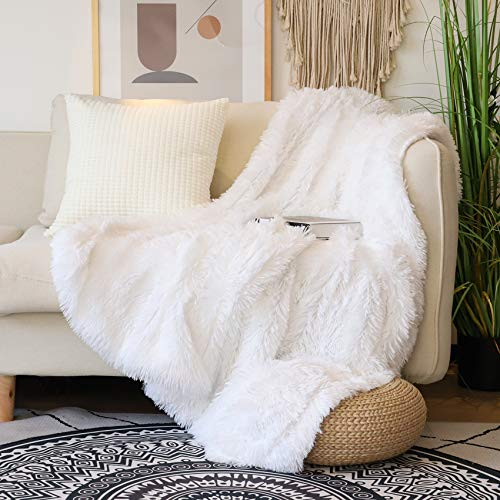 Decorative Extra Soft Faux Fur Throw Blanket 50' x 60',Solid Reversible Fuzzy Lightweight Long Hair Shaggy Blanket,Fluffy Cozy Plush Fleece Comfy Microfiber Fur Blanket for Couch Sofa Bed,Pure White