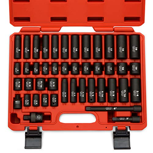 Neiko 02440A 3/8' Drive Impact Socket Set, 44 Piece Deep and Shallow Assortment   Standard SAE and Metric Sizes (5/16-Inch to 3/4-Inch and 8-19 mm)   Cr-V Steel