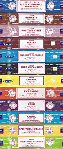 Set of 12 Nag Champa Namaste Positive Vibes Tantra Buddha Blessing Aura Cleansing Chakra Pyramids Reiki Karma Spiritual Healing Traditional Ayurveda by Satya