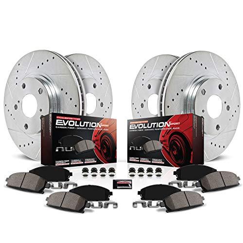 Power Stop K2813 Front & Rear Brake Kit with Drilled/Slotted Brake Rotors and Z23 Evolution Ceramic Brake Pads
