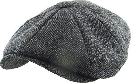 KBW-317 BLK L/XL Ascot Ivy Button Newsboy Hat Applejack Wool Blend Hat