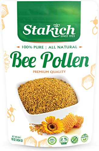 Stakich Bee Pollen Granules - 1 Pound (16 Ounce) - Pure, Natural, Unprocessed