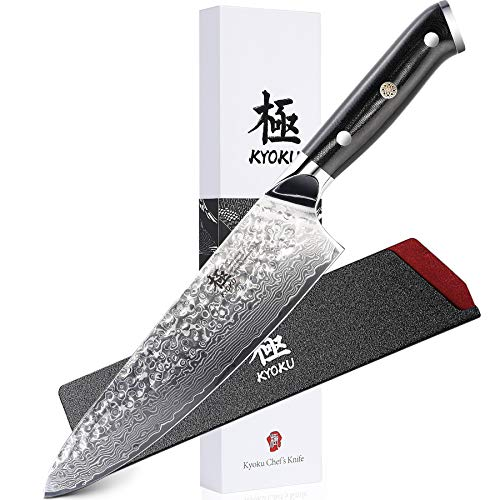 KYOKU Daimyo Series - Professional Chef Knife 8' - Japanese VG10 Steel Core Hammered Damascus Blade - with Sheath & Case