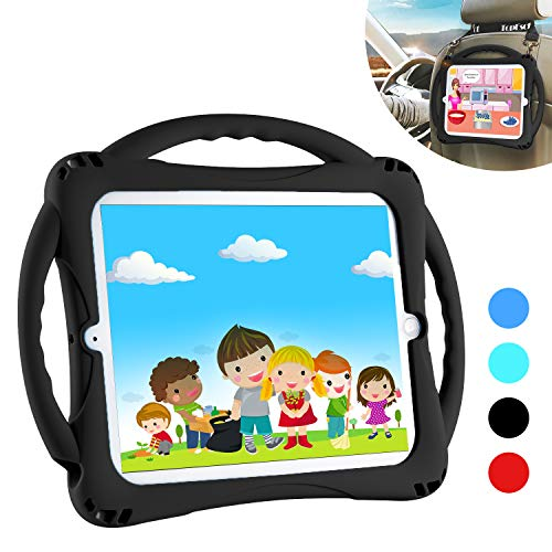 TopEsct iPad 2 Case for Kids. Comes with Adjustable Shoulder Strap,Soft Silicone Childproof Handle Stand Case for Apple iPad 2nd Generation,iPad 3rd Generation,iPad 4th Generation (Black)