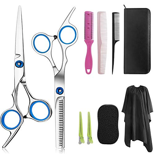 Professional Hair Cutting Scissors Set 9 PCS Hair Cutting Scissors, Thinning Shears, Hair Razor Comb, Clips, Cape, Hairdressing Scissors Kit,Barber set,includes Safety Eye Shield (White-2)
