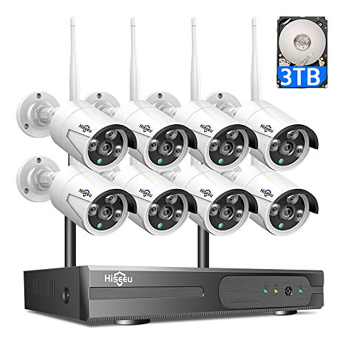 3TB HDD Pre-Install  8 Channel HD 1080P Wireless IP Camera System/IP Security Camera System 8Pcs 2.0 Megapixel 1080P Wireless IR Bullet Camera,Indoor/Outdoor,WiFi 8CH Home Security System HisEEu