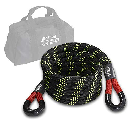 Offroading Gear 20'x7/8' Kinetic Recovery & Tow Rope, (28,600 lbs), Better Than Snatch Straps