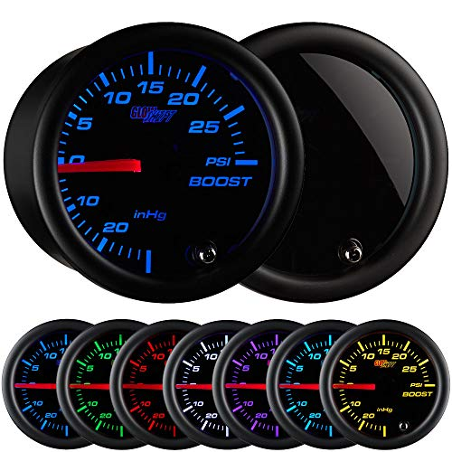 GlowShift Tinted 7 Color 30 PSI Turbo Boost / Vacuum Gauge Kit - Includes Mechanical Hose & T-Fitting - Black Dial - Smoked Lens - For Car & Truck - 2-1/16' 52mm