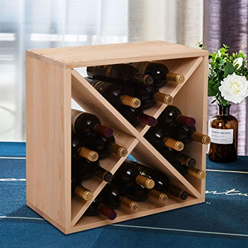Catrimown 24 Bottle Wine Rack, Freestanding Countertop Tabletop Wood Cube Wine Rack Holder Storage for Home Kitchen Compact Cellar Pantry Bar