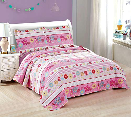 3-Piece Girls Floral Quilt Set Full or Queen with Shams, Flowers Birds Dot Stripe, Soft Breathable Quilted Bedspread Coverlet Bedding Set for All Seasons (Pink Flower, Full/Queen)