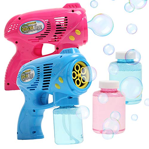 OleOletOy 2 Bubble Guns with 2 Bubble Solution Refill 5 oz Each, Bubble Maker Blower for Kids and Toddlers, Fun Summer Toy Blaster Game for Birthday Party and Wedding, Outdoor Toys for Boys and Girls