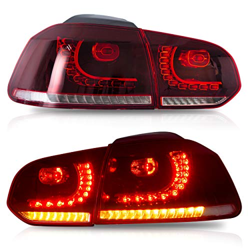 VLAND Tail lights Assembly Fit for 2010-2013 Volkswagen GOLF 6 MK6 GTI, 2012-2013 Golf R, Taill Lamp assembly with Sequential Turn Signal, Reverse Lights, LED DRL light, Plug-and-play, Red