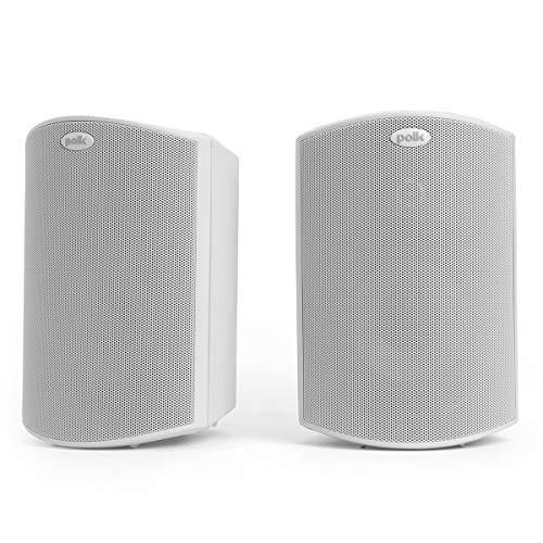 Polk Audio Atrium 4 Outdoor Speakers with Powerful Bass (Pair, White), All-Weather Durability, Broad Sound Coverage, Speed-Lock Mounting System