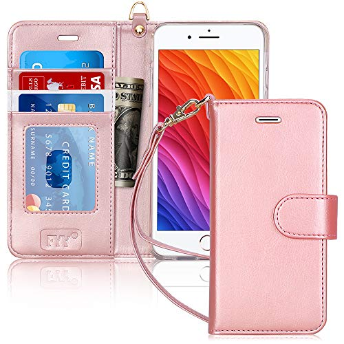 FYY Case for iPhone 6S Plus/iPhone 6 Plus (5.5'), [Kickstand Feature] Luxury PU Leather Wallet Case Flip Folio Cover with [Card Slots][Wrist Strap] for iPhone 6S+ Plus/iPhone 6+ Plus (5.5') Rose Gold