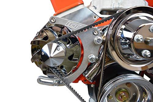 ICT Billet SBC Adjustable Alternator Bracket Low Mount Kit Compatible with Small Block Chevy 305 327 350 5.0L 5.7L V8 Long Water Pump for V Belt 551672