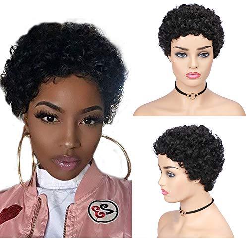 HANNE Short Curly Human Hair Wigs for Black Women 100% Remy Brazilian Soft Hair Short Pixie Cut Human Wigs (Natural Black)