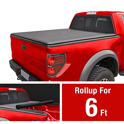 Soft Roll Up Truck Bed Tonneau Cover for 1982-2013 Ford Ranger; 1994-2011 Mazda B-Series Pickup | Styleside 6' Bed
