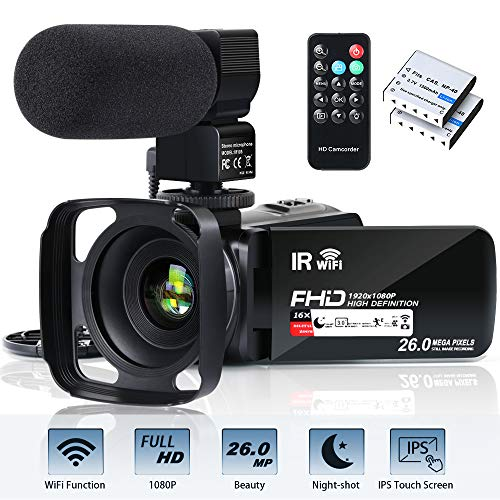"""Video Camera Camcorder WiFi FHD 1080P 30FPS 26MP YouTube Vlogging Camera 16X Digital Zoom 3.0"""" Touch Screen Digital Camera Video Recorder with Microphone Remote Control Lens Hood Infrared Night Vision"""