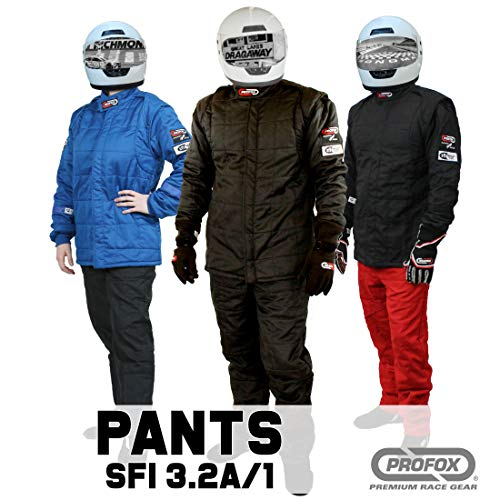 PROFOX-103 Black 2XL Pants Auto Racing Fire Resistant Single Layer SFI 3.2A/1 Fire Racing Suit (Pants only)