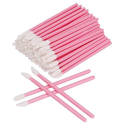 AKStore 100 Pcs Disposable Lip Brushes Make Up Brush Lipstick Lip Gloss Wands Applicator Tool Makeup Beauty Tool Kits (Pink)