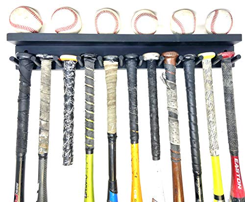 MWCSPORTS Holds 11 Full Size Baseball/Softball Bat 6 Balls Trophy Awards Rack Holder Display Storage and Organization Softball Heavy Duty Hardware Baseball Bat Rack Shelf Holder Wall Mount (Black)