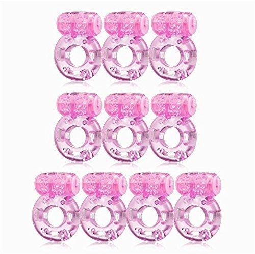 [10-Pack] Pink Waterproof Vibrating Soft Silicone Cǒck Rīng Realistic B'uttërfly Stretchy Pénīs Rīng Ṿịbrạtọr Adûllt See/xy T^%oys for Couples