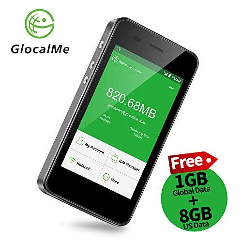 GlocalMe G3 4G LTE Mobile Hotspot, [Upgraded Version] Worldwide High Speed WiFi Hotspot with 1GB Global Initial Data, No SIM Card Roaming Charges International Pocket WiFi Hotspot MIFI Device (Gary)