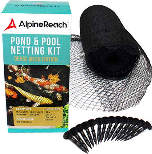 AlpineReach Koi Pond Netting Kit 15 x 20 Feet Gift Box - Woven Fine Mesh Heavy Duty Stretch Net Cover for Leaves - Protects Koi Fish from Blue Heron Birds Cats Predators UV Protection Stakes Included
