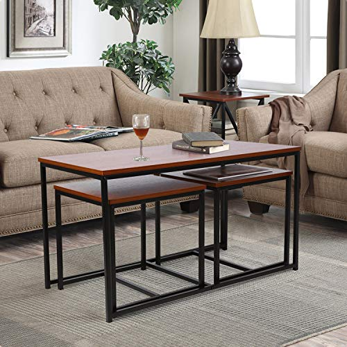 amzdeal Living Room Table Set 3-Piece Table Set Includes Coffee Table and 2 End Tables, Coffee Table Set Occasional Set for Home Office, Walnut