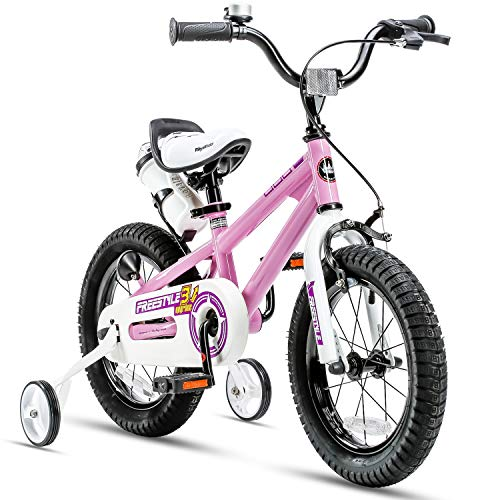 RoyalBaby Kids Bike Boys Girls Freestyle BMX Bicycle with Training Wheels Gifts for Children Bikes 14 Inch Pink