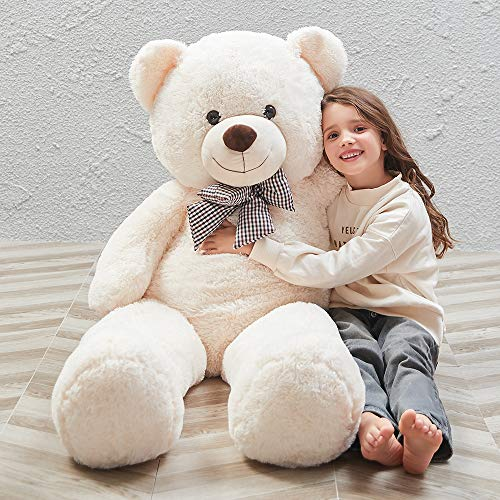 MorisMos 47 inch Giant Teddy Bear Stuffed Animals Plush Cute Soft Toys Teddy Bear for Girl Children Girlfriend Valentine's Day White 1.2M